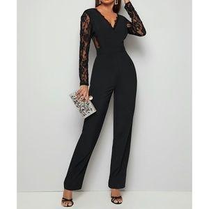 Black V Back Floral Mesh Lace Cocktail Jumpsuit